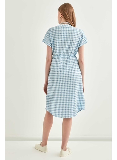 Vitrin Pötikare Desenli Belden Büzgülü Düşük Kol Elbise Mavi